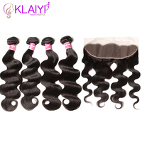 Klaiyi Hair 13X4 Lace Frontal Closure With Bundles Brazilian Body Wave Human Hair Bundles With Lace Closure Remy Hair Weave