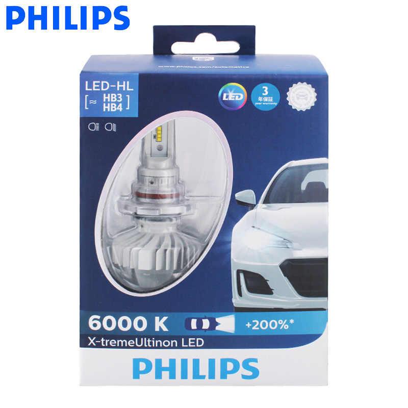 Philips LED H4 H7 H8 H11 H16 9005 9006 X-treme Ultinon LED Car Headlight Fog Lamps 6000K Cool White +200% Brighter Bulbs, Pair