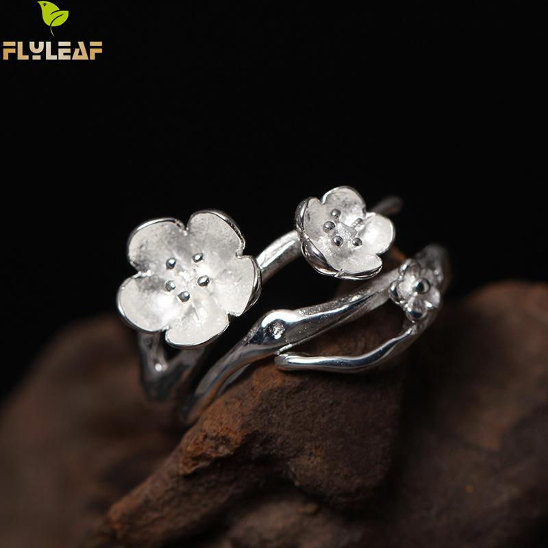 925 Sterling Silver Plum Flower Open Rings For Women High Quality Fashion Lady Gift Prevent Allergy Sterling-silver-jewelry