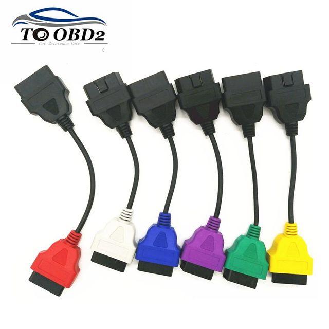 Neueste 6 Farbe Auto OBD2 Anschluss Diagnose Adapter Kabel für FiatECUScan und Multiecuscan für Fiat Alfa Romeo und für Lancia