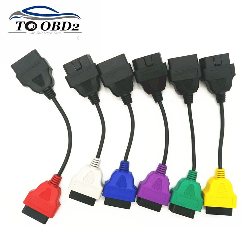 Newest 6 Color Auto OBD2 Connector Diagnostic Adapter Cable for FiatECUScan and Multiecuscan for Fiat Alfa Romeo and for Lancia-in Car Diagnostic Cables & Connectors from Automobiles & Motorcycles