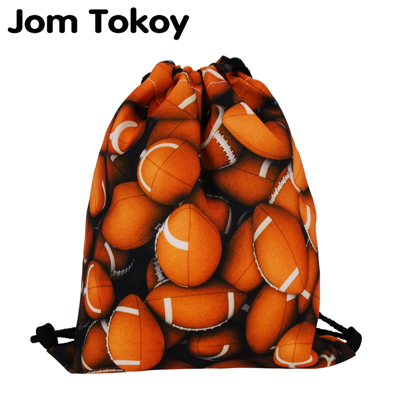 2019 New Fashion Boy Footbal Drawstring Backpack 3D Printing Rugby Travel Softback Men  Mochila Drawstring Bags
