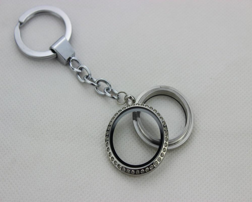 1pc Crystal Round Living Memory Glass Locket Key Chain Keyfob DIY Floating Charm