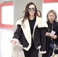 Luxo nova pele de carneiro genuína das mulheres shearing casaco cashmere forro de lã senhora inverno roupas quentes preto plus size xxxl 3xl