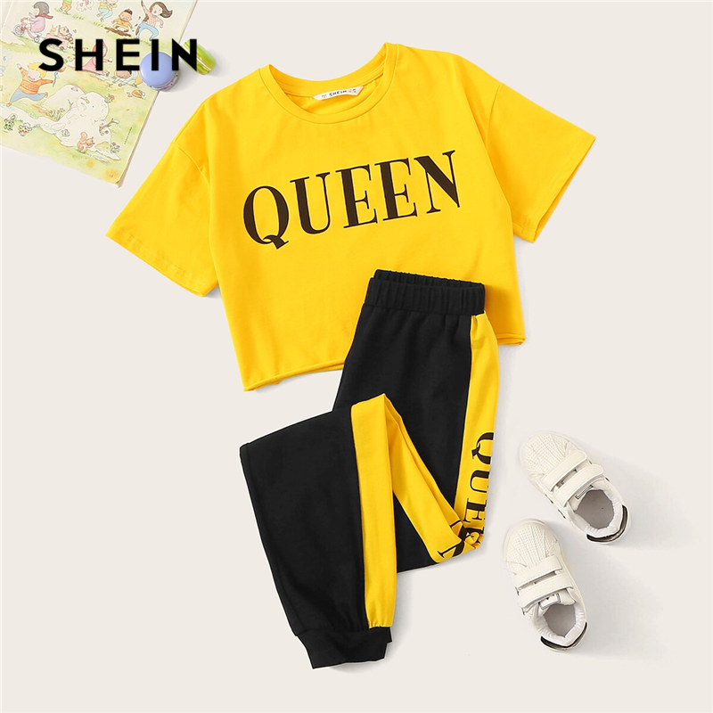 SHEIN Kiddie Girls Letter Print Tee And Contrast Side Sweatpants Casual Set Kids 2019 Summer Active Wear Short Sleeve Suit Sets