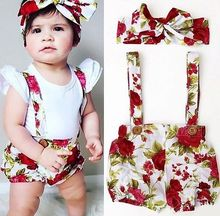 6M-3T Baby Girls Floral Overalls Shorts Toddler Kids Rompers Cute Cartoon Jumpsuit For Summer Bib Pants Clothes Mached Headband