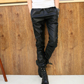 2016 autumn fashion brand men's clothing mens trousers male black gold pu leather patchwork leather pants jazz dance leather pan