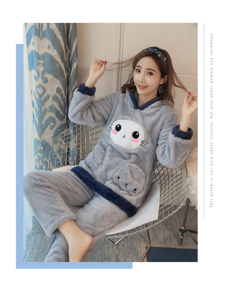 Winter Women Pajama Flannel Sleepwear Long Sleeves Hot Pajamas For Women Velvet Pajama Women Soft Clothing 85
