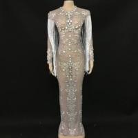 Украшенные стразами кисточкой Сетчатое длинное платье День рождения, празднование выпускного вечера вечерние платье певица в ночном клубе