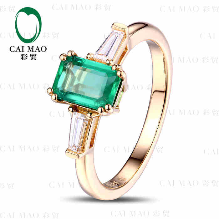 CaiMao 0.92 ct Natural Emerald 18KT/750 Yellow Gold 0.15 ct Full Cut Diamond Engagement Ring Jewelry Gemstone colombian hsp bajer 5b 1 5th 2wd rtr 26cc engine gasoline off road buggy 94054