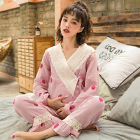 Maternity Nightwear Pregnant Pajamas Cotton V Collar Breastfeeding Clothes Nursing Nightgown Pregnancy Sleepwear Homewear A206