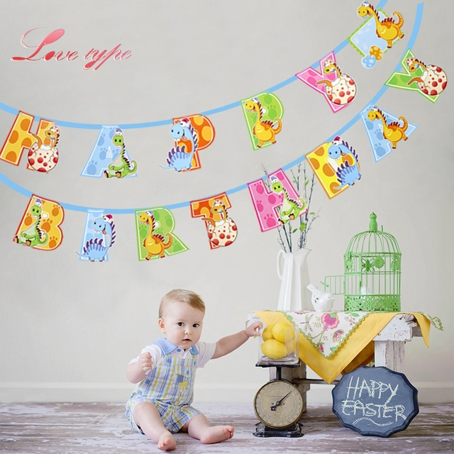1set Cute Dinosaur Happy Birthday Banner Decorations Diy Paperboard