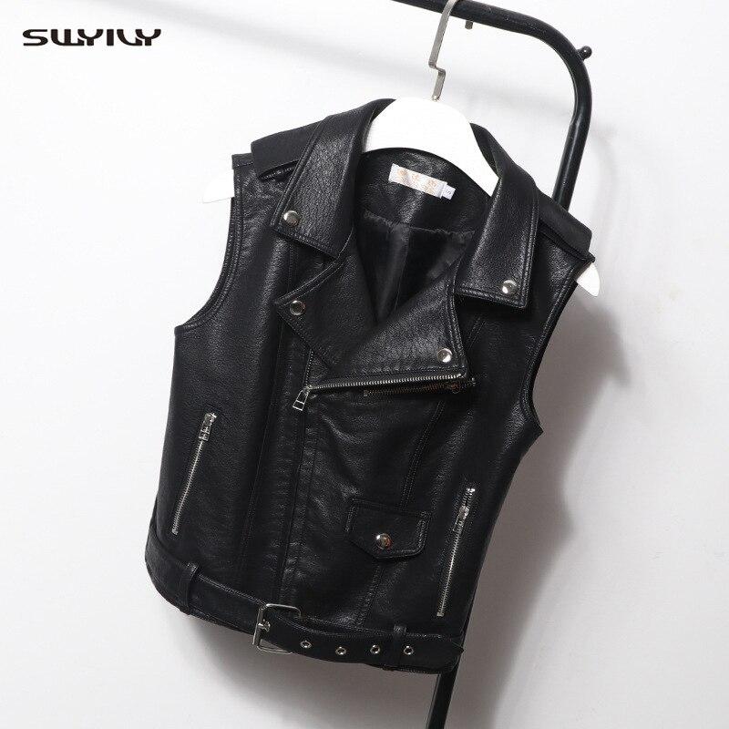 SWYIVY Women's PU   Leather   Sleeveless Slim Short Jacket Imitation   Leather   Black Casual Vest Lapel Zipper   Leather   Vest Jacket