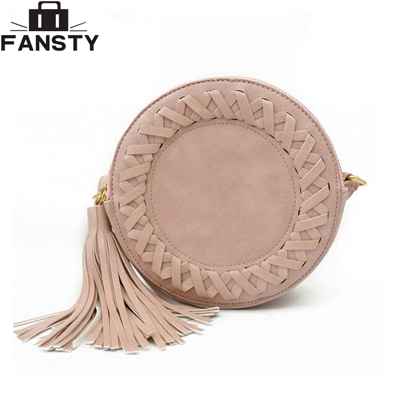 new Korean round tassel single women shoulder bag female PU leather crossbody bag fashion woven messenger bags for younth qiaobao 2018 new korean version of the first layer of women s leather packet messenger bag female shoulder diagonal cross bag
