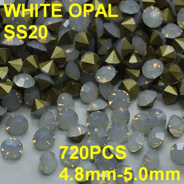 SS20 720pcs/lot 4.8mm-5.0mm Golden Pointback Crystal Opal Rhinestone In Nail Jewelry Glitter Non Hotfix 3D Rhinestones