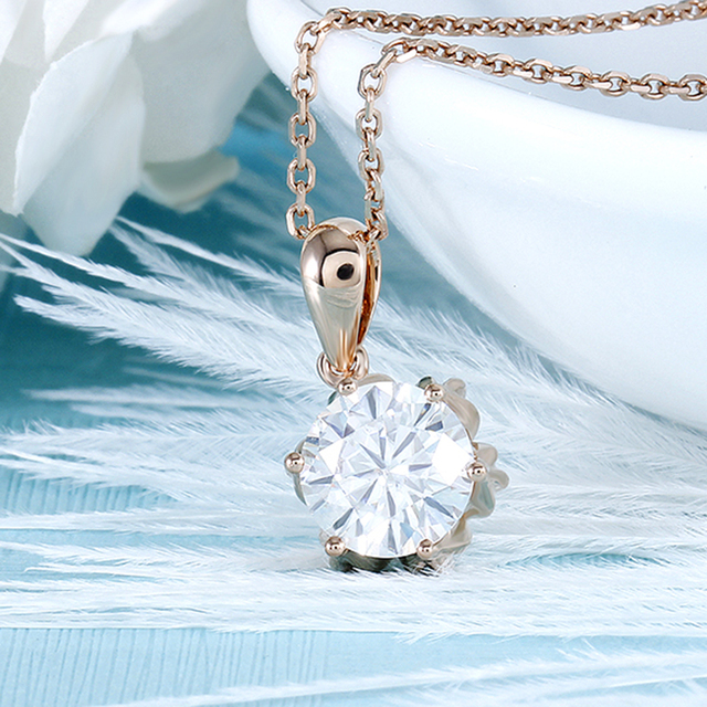 DovEggs 18K 750 Rose Gold 1CTW 6.5mm F Color Moissanite Flower Shaped Pendant Necklace with 14 3