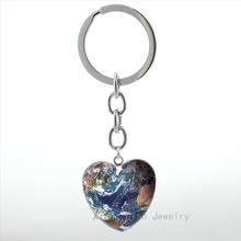 Online get cheap earth keychain aliexpress alibaba group fashion earth world map keychain vintage galaxy glass cabochon heart pendant key chain ring men women jewelry key holder hp466 sciox Images