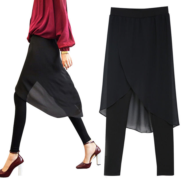 2017 New Spring&Summer Women Irregular Chiffon Leggings Pants Fake Two Large Size Ladies Outer Wear Skirt Trousers