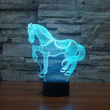 Newest 7 Colors Changing Animal Novelty Horse font b 3D b font Night font b Light
