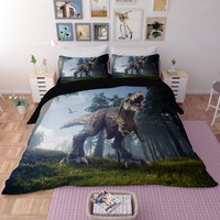 3D cartton dinosaur Bedding Sets king size cool Duvet Cover set with pillowcase queen single boys/adults home textile bedclothes