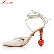 Concise Cane Candy Color Cover Pointy Toe Narrow Cross Lace-up Women Shoes T-show Strange Heels Decor Crystal Sandals Woman