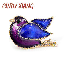 CINDY XIANG New Purple and Blue Color Peace Dove Brooches Women and Men Suit T-shirt Pin Enamel Brooch Cute Bird Jewelry Gift(China)