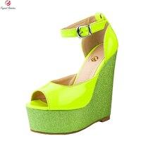 Orijinal Niyeti Şık Kadın Sandalet Fashon Platformu Peep Toe Takozlar Sandalet Yeşil Ayakkabı Kadın Artı ABD Boyutu 4-15