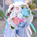 Великолепные Разноцветные Цветы из Шелка Свадебные Ленты Букет На Складе Свадебные Аксессуары Украшения для Продажи camelias де седа mariage