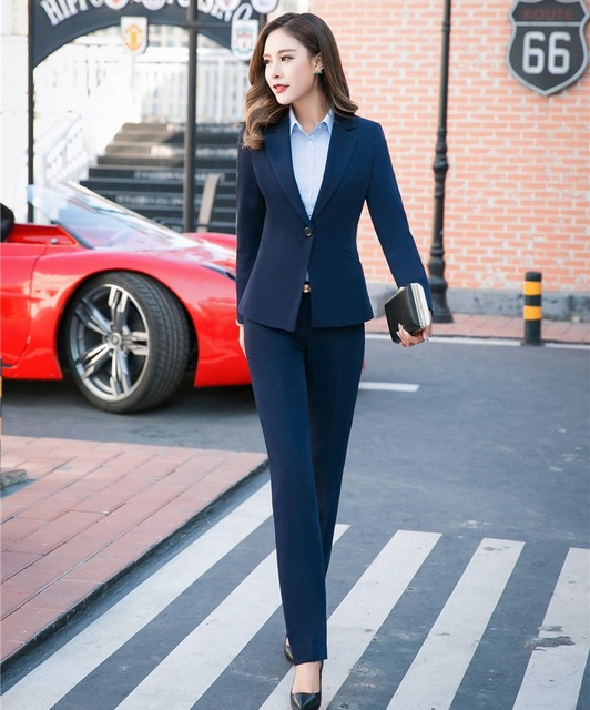 8467dc7831 Formal Dark blue Blazers Women Business Suits with Pant and Jackets Set  Ladies Office Uniform Designs OL Style