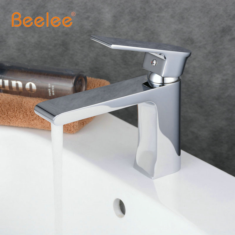 Beelee Free Shipping Contemporary Brass Single Handle Bathroom Waterfall Faucet Mixer Tap with Bathroom Brush Nickel Faucet beelee ba8609c free shipping bathroom accessories products solid brass