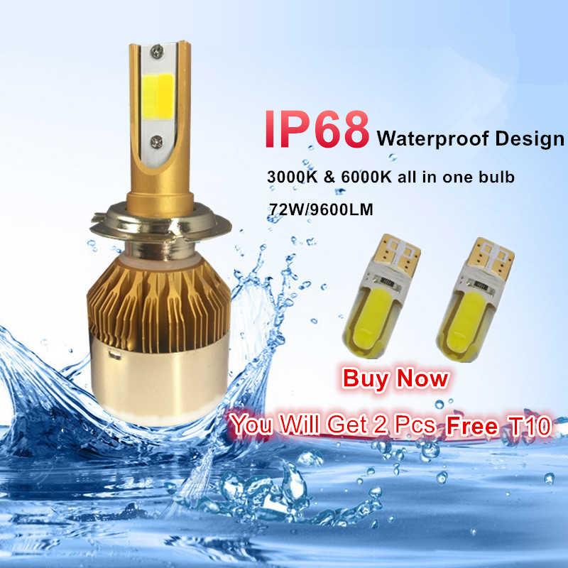 YHKOMS רכב LED פנס 9005 HB3 9006 HB4 LED H4 H7 H8 H11 H1 H3 H27 אוטומטי אור ערפל 76 W מנורת 6000 K 3000 K צבע כפול 9600LM 12 V