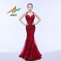 ANTI Elegant Budgundy Mermaid Evening Dress Sleeveless Appliques Sweetheart Vestido De Festa Long Prom Gowns Robe De Soiree