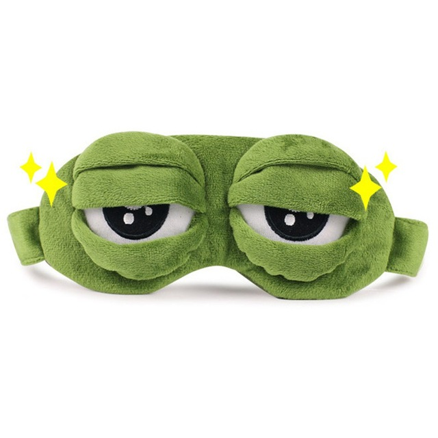 68b21e8e740 3D Green Sad Frog Sleep Mask Travel Relax Sleeping Aid Blindfold Eye Cover  Hide and seek Party mask Cosplay Costume Kids gifts