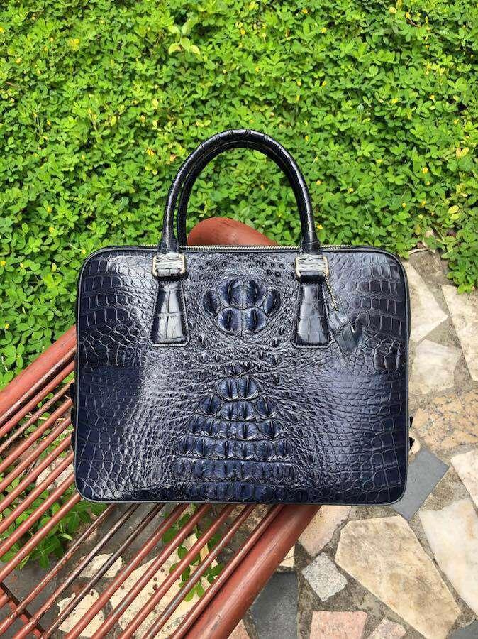 100% Genuine Alligator Skin Men Business Bag Crocodile Leather Skin Briefcase Men Laptop Bag With Cow Skin Lining Dark Blue