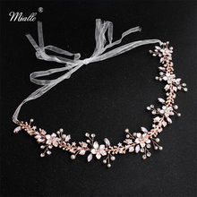 Miallo Newest Rose Gold Flowers Wedding Headpieces Handmade Bridal Hair Accessories Jewelry Crown Headband Bride's Tiaras(China)