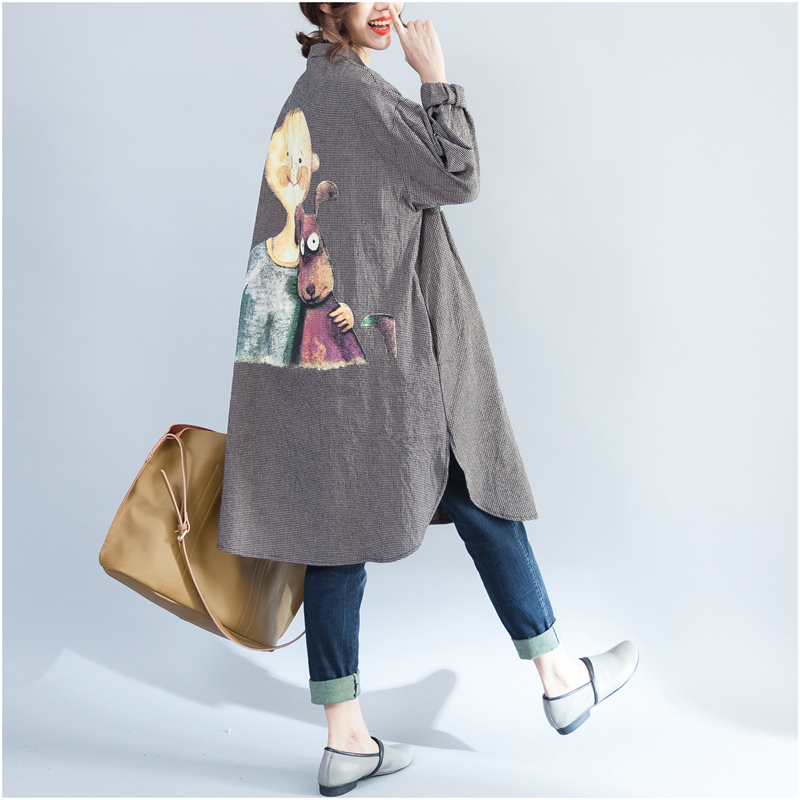 Korean Plus Size Autumn Spring Women Long Shirt Vintage Plaid Cartoon Print Female Blusa Full Sleeve Oversize Cotton Lady Blouse
