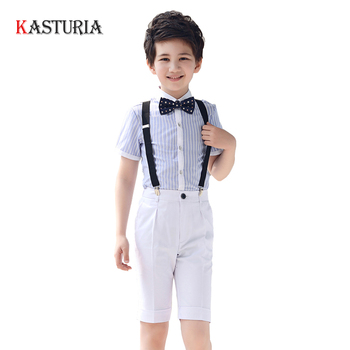 2018 kids Boys clothing sets boys clothes striped shirts and black pants school uniform formal shorts suits boy summer clothes