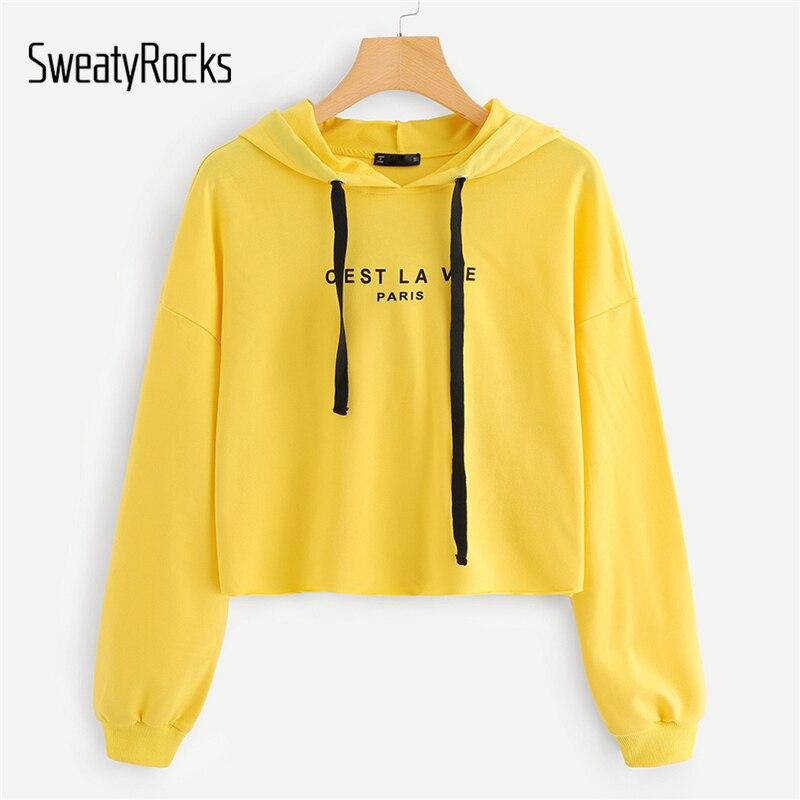 9941df119accd SweatyRocks Yellow Sweatshirt Drop Shoulder Hoodies Women Clothes 2018  Letter Print Long Sleeve Casual Pullovers Autumn Crop Top