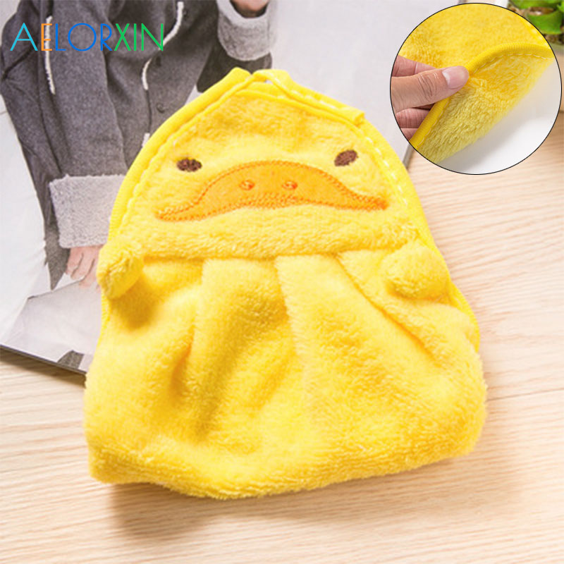 Cute Animal Baby Nursery Hand Towel Baby Bath Towels Toddler Soft Plush Cartoon Animal Wipe Hanging Bathing Towel For Children