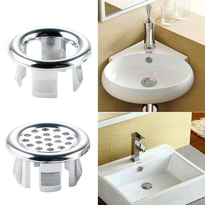 2pcs Kitchen Sink Accessory Round Ring Overflow Spare Cover Waste Plug Sink Filter Bathroom Basin Sink Drain Drop Shipping