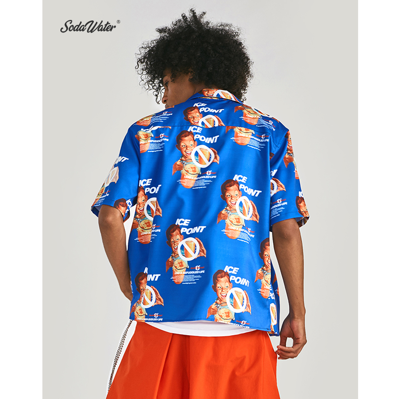 Image 2 - SODA WATER x Double Concept 2019 Summer Hip Hop Funny Graphic Printed Men Shirt Streetwear Short Sleeve Hawaiian Shirt ZJ9261S-in Casual Shirts from Men's Clothing