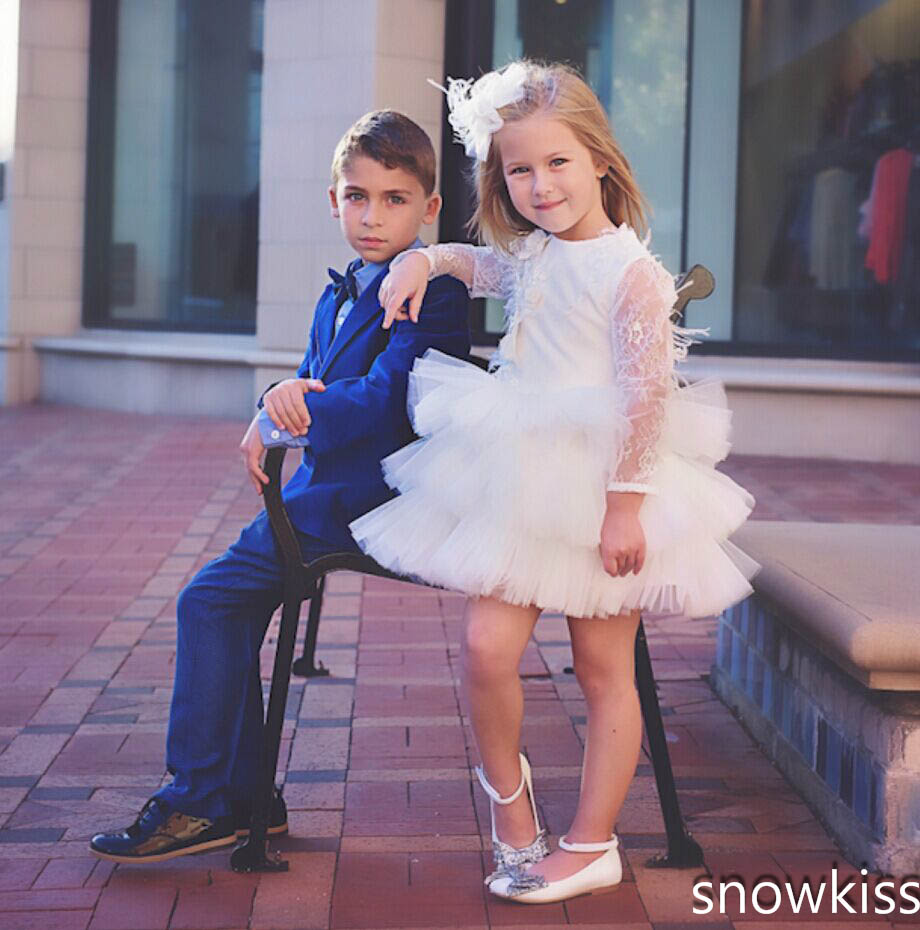 Cute ivory/white pretty short girl dress with lace appliques long sleeve ruffle little kids summer dresses for wedding and party