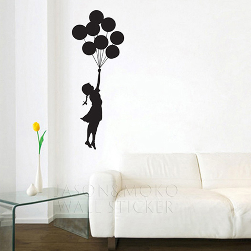 Banksy Balloon Little Girl Dress Wallpaper Wall Sticker Decal Mural Vinyl  Graphic For Kids Baby Room 45x120cm Home Decoration In Wall Stickers From  Home ... Part 65