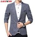 LONMMY M-3XL homens blazer Xadrez Marca-roupas Homens blazer terno Slim fit de Alta qualidade Poliéster Moda homens blazer designs 2016 Novo