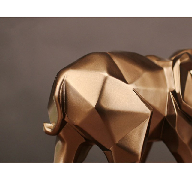 Modern Abstract Black Elephant Statue Resin Ornaments Home Decoration accessories Gift Geometric Resin Gold Elephant Sculpture 6