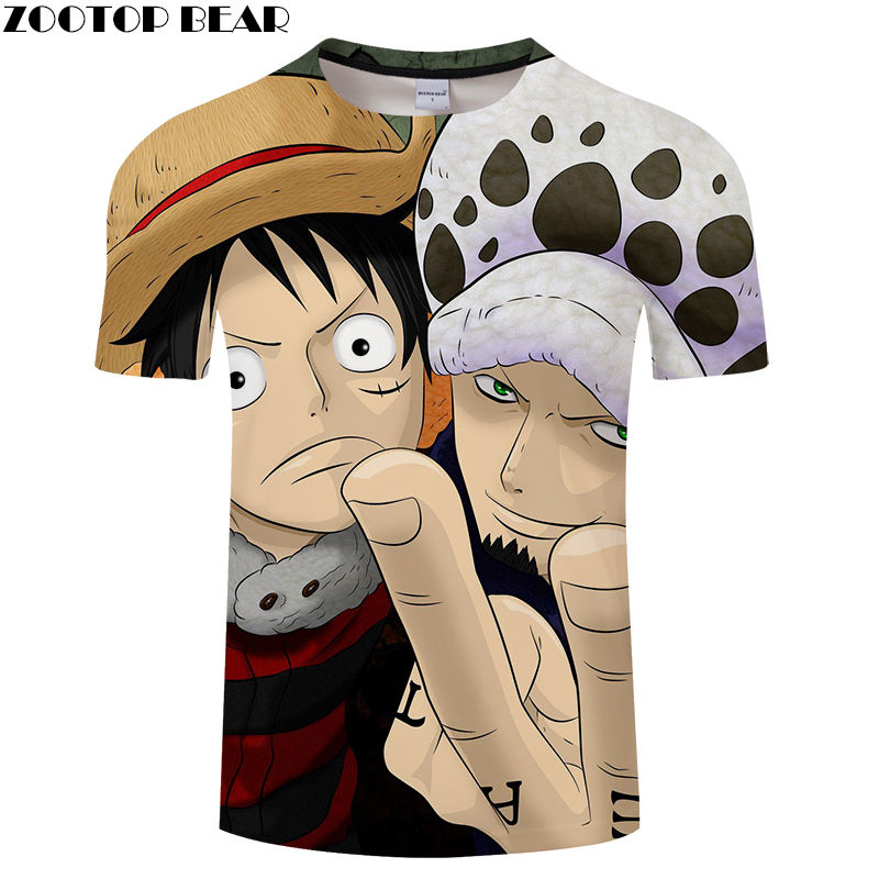 Luffy Men T Shirts Movie Funny Boy Cool Short Casual Shirt  Anime One Piece Brand Homme t-shirt Breathable 3D Print ZOOTOP BEAR
