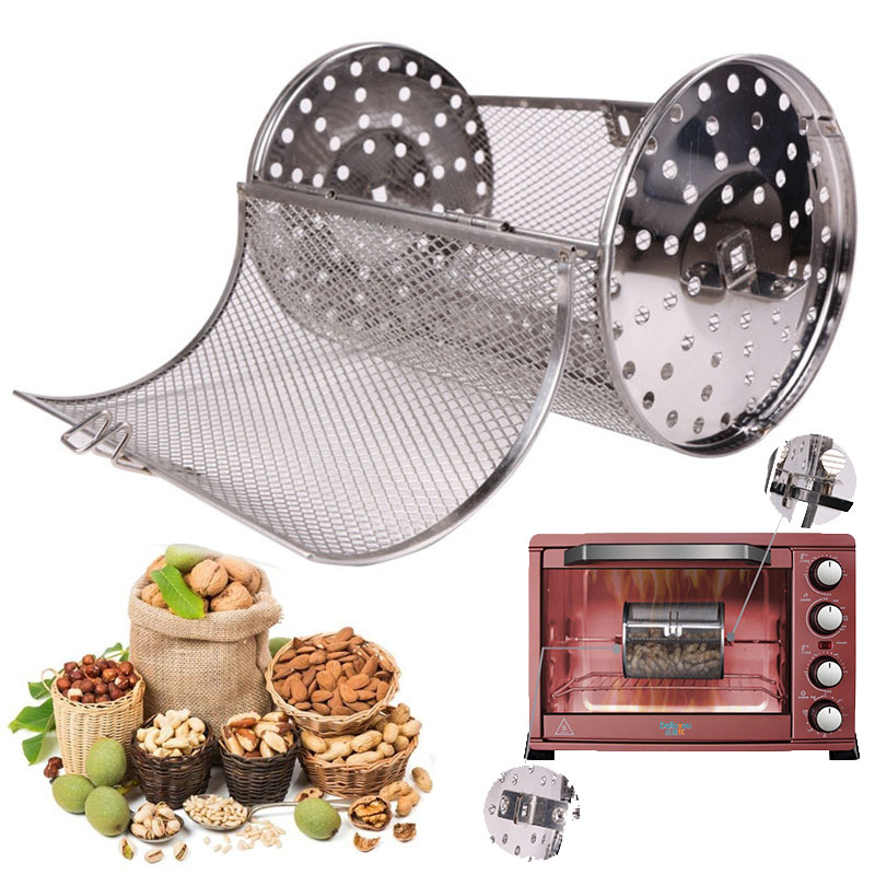 12X18CM Stainless Steel Oven Drum Parts Grilled Cage Rotary Oven Mesh Barbecue Roasted Coffee Bean Nut Walnut Roaster Cage Гриль
