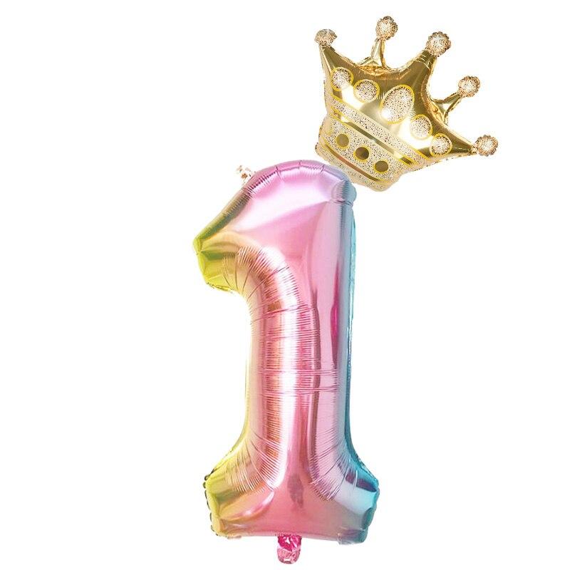 Фольгированные воздушные шары в виде цифр, радужные шары в форме цифр, 2 шт., 32 дюйма, украшение для дня рождения, цвета розового, золотого, розового, серебряного, синего цветов, 0-9 цифр-4