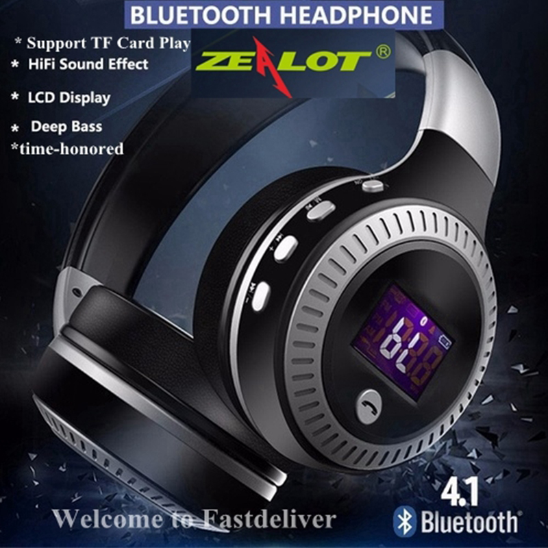 Mini Style Wireless Bluetooth Earphone ZEALOT HiFi Bass Stereo Bluetooth Headphone Wireless Headset LCD Display With Microphone zealot b20 stereo bluetooth headset hifi super bass wireless headphone handsfree with microphone for ios android phone
