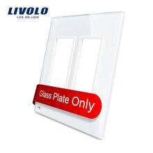 Livolo lujo de perlas de cristal blanco, estándar de EE.UU., Vidrio doble Panel de Interruptor De Pared y Zócalo, VL-C5-SR/SR-11